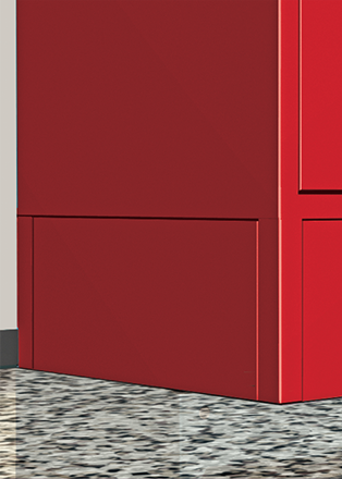 These 18 gauge bases add a finished look by fitting flush, between locker legs; ie. Front Bases fit between front legs, and End Bases between front and rear legs of lockers at  the end of a row.